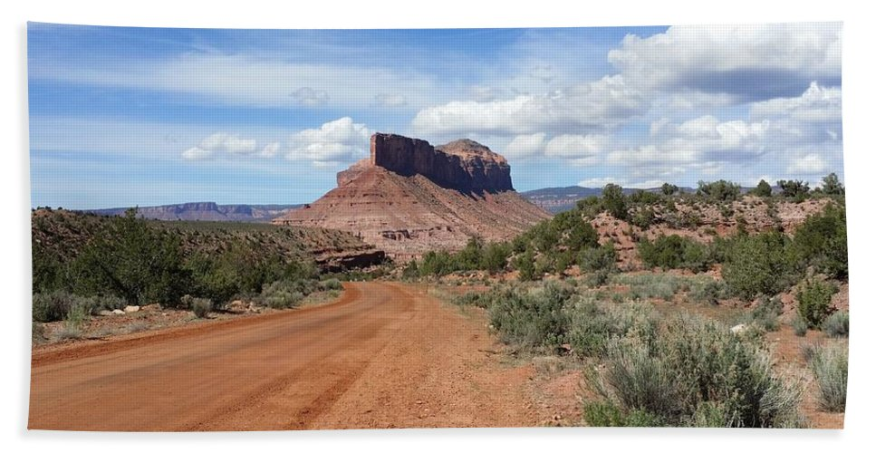 Dirt Road Bath Sheet featuring the photograph Off Road On The Red Rock by Denise Ashley