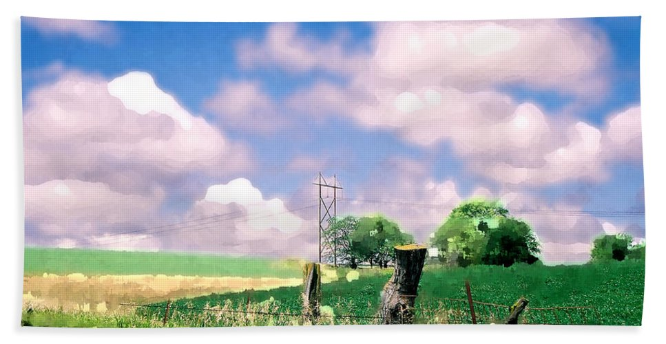 Landscape Bath Sheet featuring the photograph Off The Grid by Steve Karol