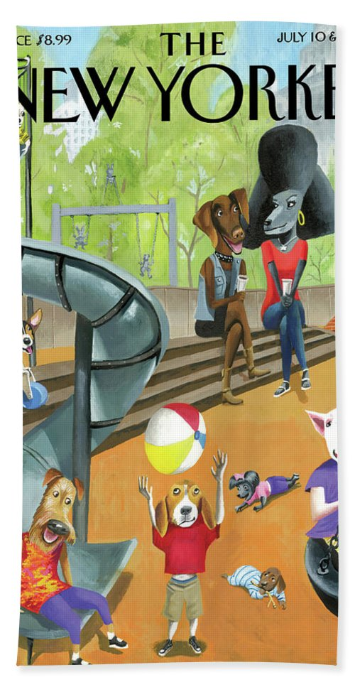 Dog Bath Sheet featuring the drawing Off The Leash by Mark Ulriksen