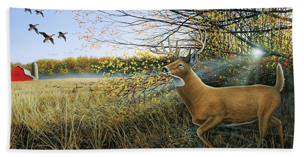 Deer Hand Towel featuring the painting Off The Line by Anthony J Padgett