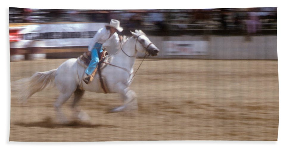 Rodeo Hand Towel featuring the photograph Off To The Races by Jerry McElroy