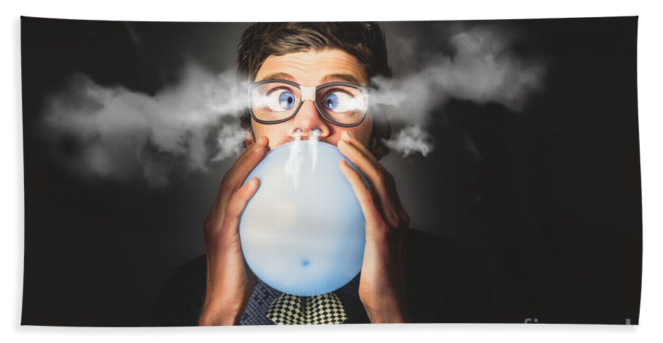 Party Hand Towel featuring the photograph Office Party Nerd Blowing Up Birthday Balloon by Jorgo Photography - Wall Art Gallery