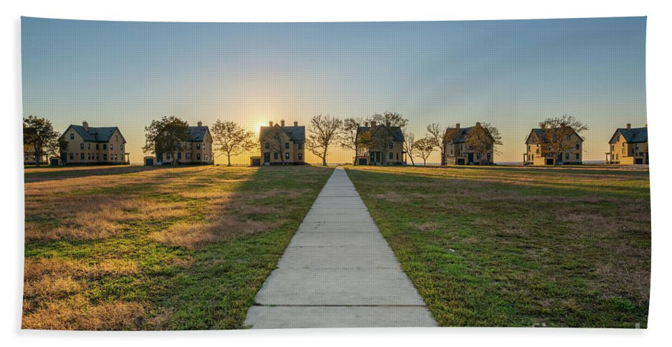 Officers Row Bath Towel featuring the photograph Officers Row Sunset by Michael Ver Sprill