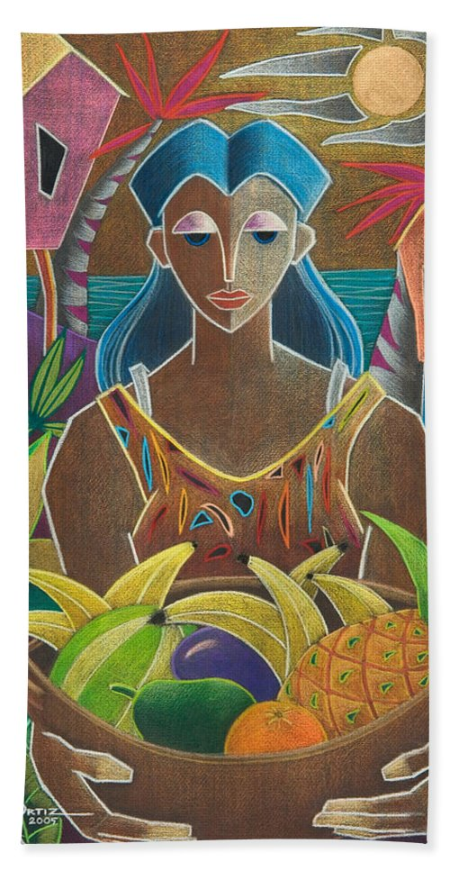 Female Bath Sheet featuring the painting Ofrendas De Mi Tierra by Oscar Ortiz