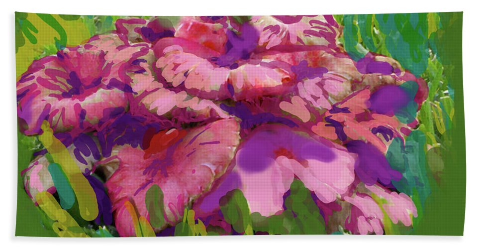 Mushrooms Hand Towel featuring the digital art Oh My Mushrooms by Suzanne Udell Levinger