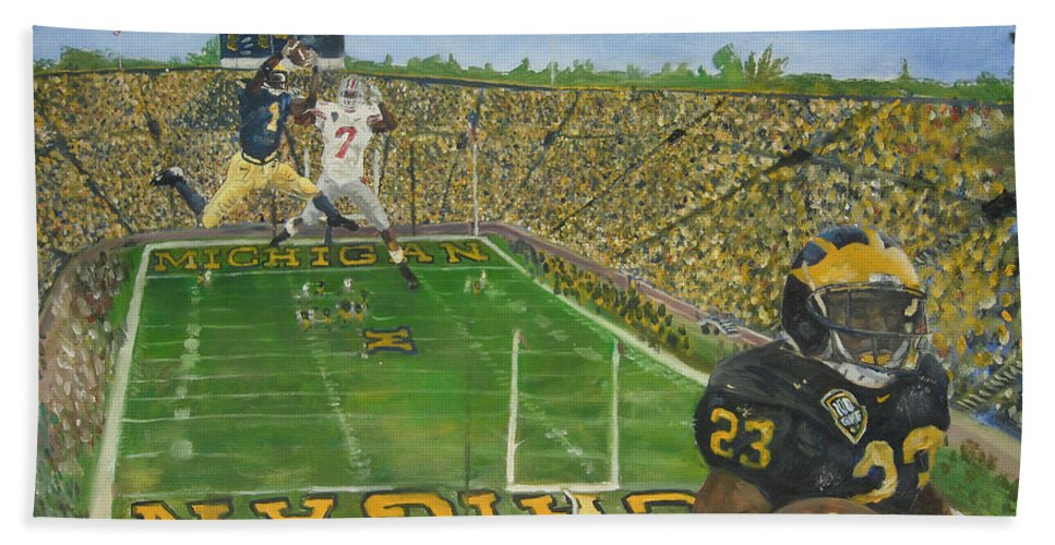 Michigan Hand Towel featuring the painting Ohio State Vs. Michigan 100th Game by Travis Day