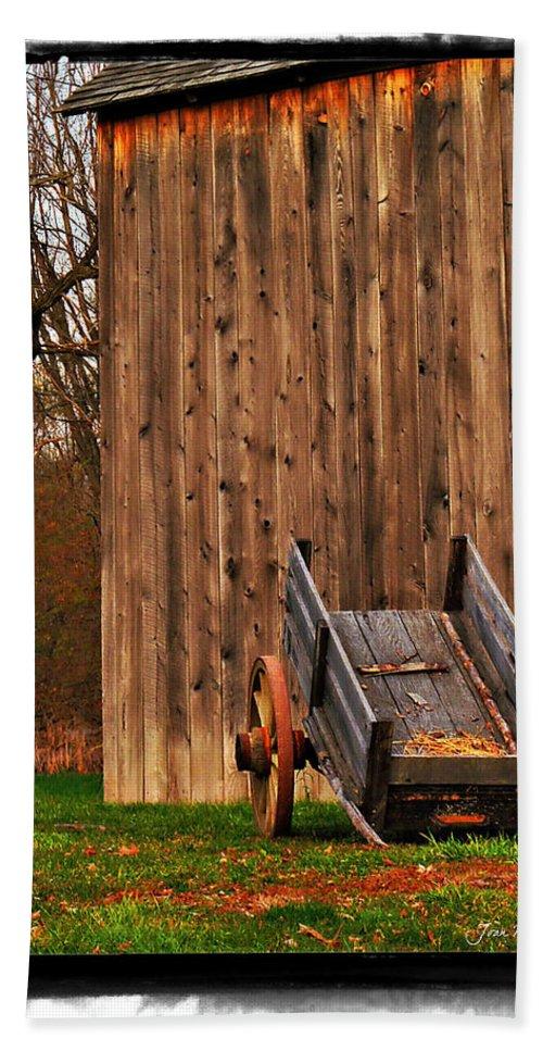 Amish Hand Towel featuring the photograph Ohio Wheelbarrel In Autumn by Joan Minchak