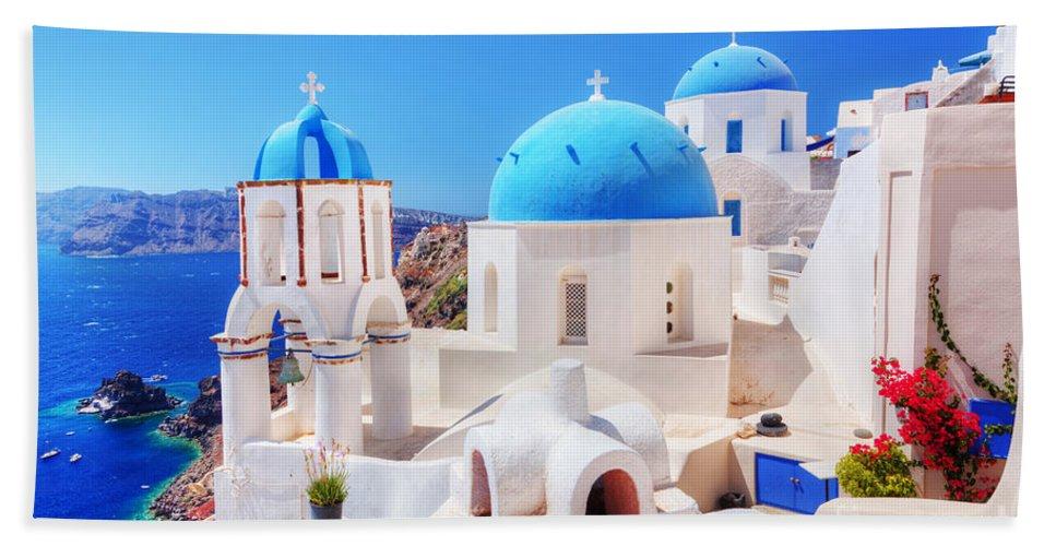 Greece Hand Towel featuring the photograph Oia Town On Santorini Island Greece Aegean Sea by Michal Bednarek