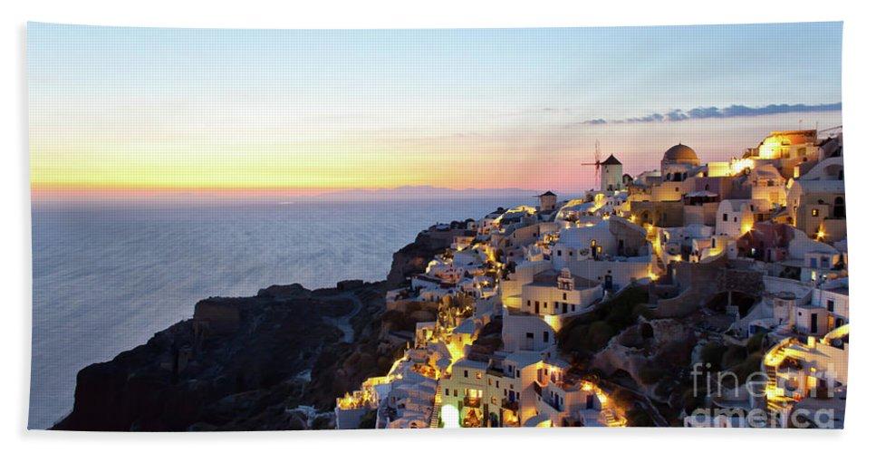 Aegean Bath Sheet featuring the photograph Oia Village In Santorini Island - Greece by Antonio Gravante