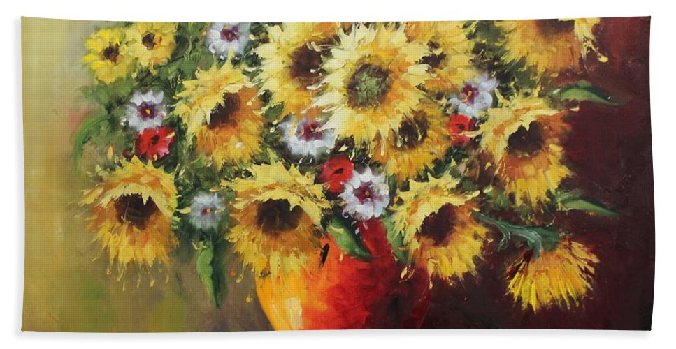 Originals Hand Towel featuring the painting Oil Msc 055 by Mario Sergio Calzi