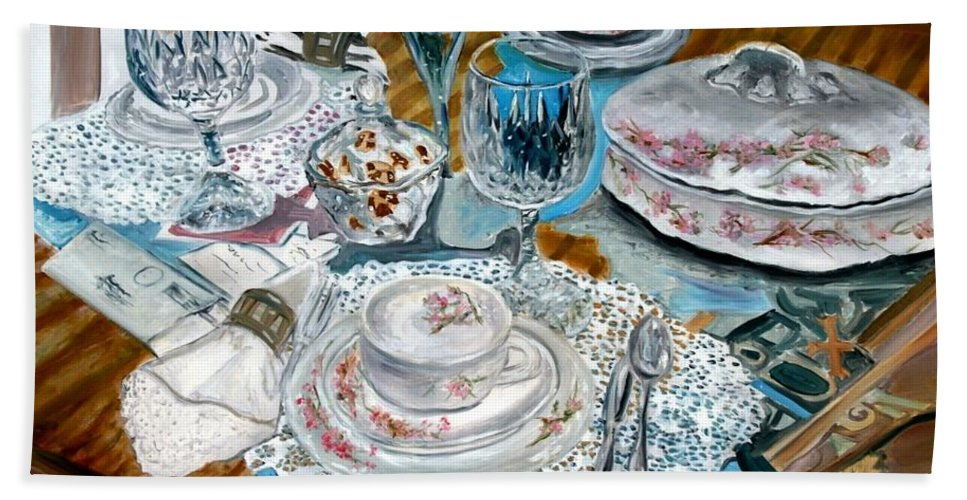 Oil Bath Towel featuring the painting Oil Painting Still Life China Tea Set by Derek Mccrea