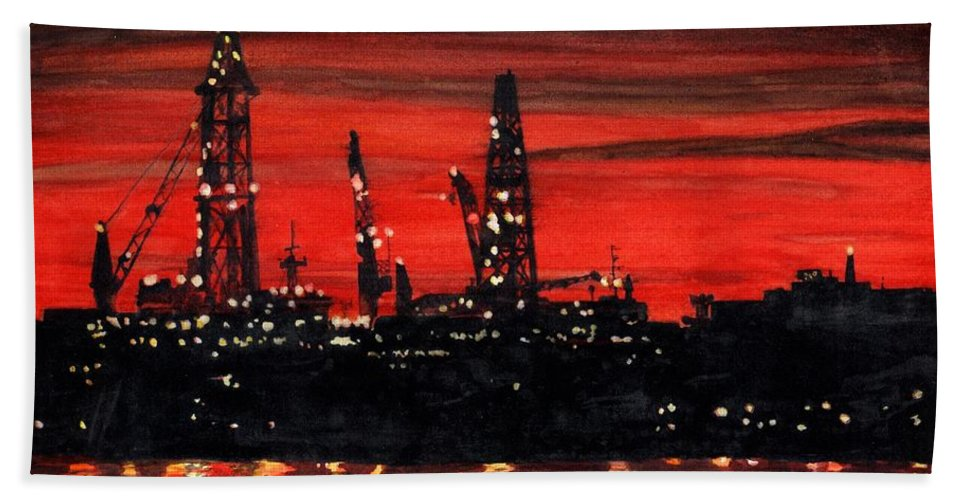 Cityscape Bath Towel featuring the painting Oil Rigs Night Construction Portland Harbor by Dominic White