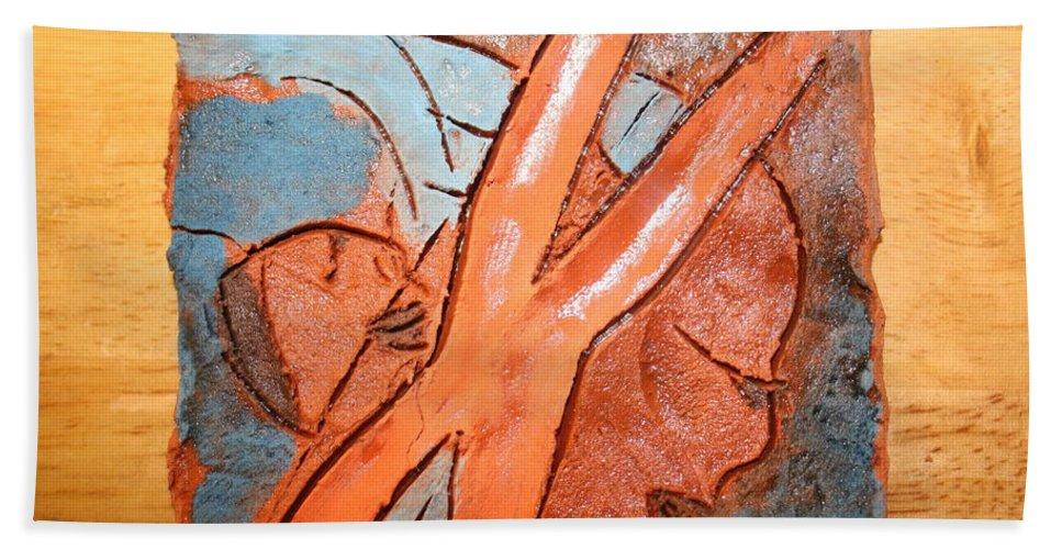 Jesus Hand Towel featuring the ceramic art Okuweka - Tile by Gloria Ssali