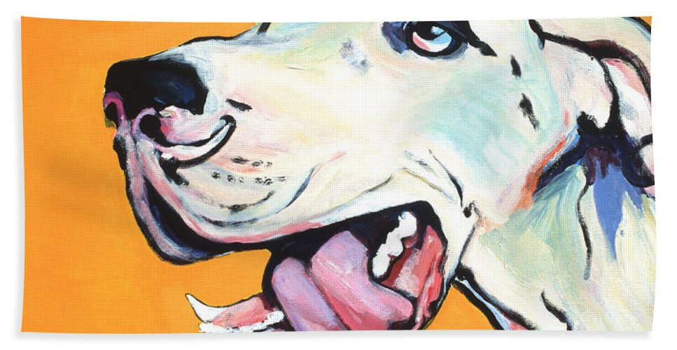 Commissioned Pet Portraits Available Bath Sheet featuring the painting Ol' Blue Eye by Pat Saunders-White