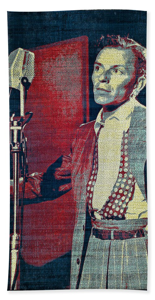 Frank Sinatra Hand Towel featuring the digital art Ol' Blue Eyes - Frank Sinatra by Absinthe Art By Michelle LeAnn Scott