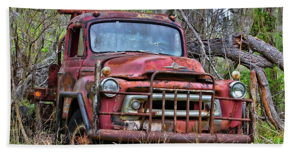 Truck Bath Sheet featuring the photograph Old Abandoned International Truck by TN Fairey