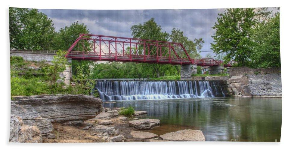 2015 Bath Towel featuring the photograph Old Appleton Bridge by Larry Braun