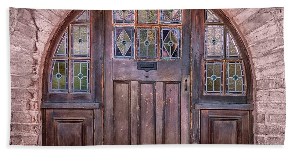 Southwest Hand Towel featuring the photograph Old Arched Doorway-tucson by Sandra Bronstein