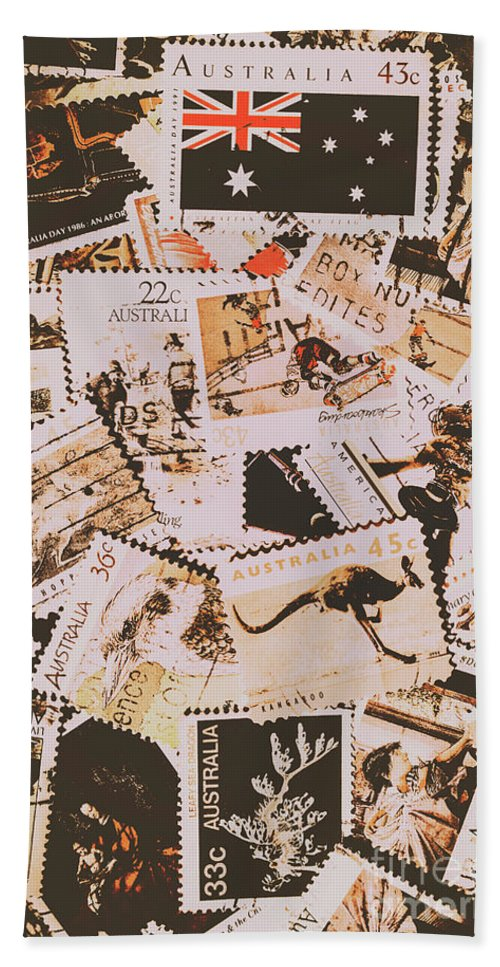 Australia Hand Towel featuring the photograph Old Australia In Stamps by Jorgo Photography - Wall Art Gallery