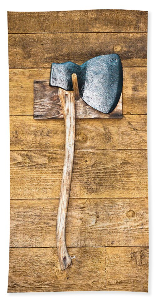 Antique Hand Towel featuring the photograph Old Axe by Tom Gowanlock