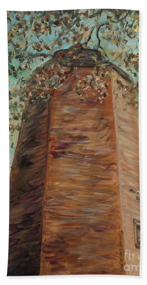 Old Baldy Hand Towel featuring the painting Old Baldy Light House in Teal by Nadine Rippelmeyer