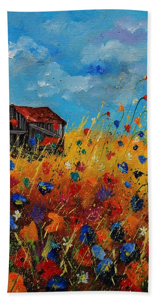 Flowers Bath Towel featuring the painting Old Barn And Wild Flowers by Pol Ledent