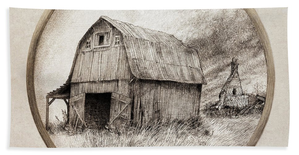 Barn Bath Towel featuring the drawing Old Barn by Eric Fan