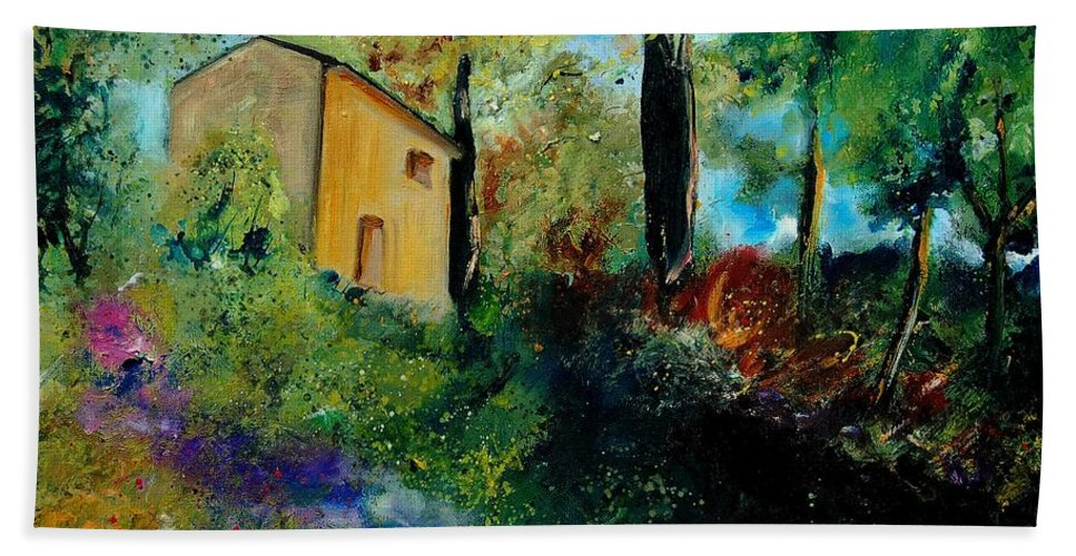 Provence Bath Towel featuring the painting Old Barn In Provence by Pol Ledent