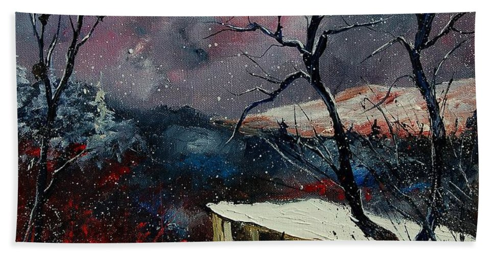 Winter Hand Towel featuring the painting Old Barn In Winter by Pol Ledent
