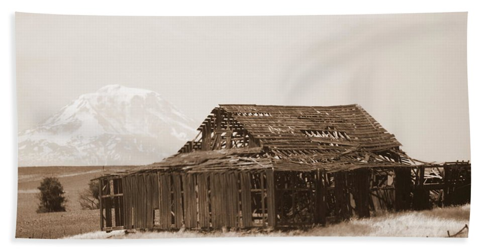 Barn Hand Towel featuring the photograph Old Barn With Mount Adams In Sepia by Carol Groenen