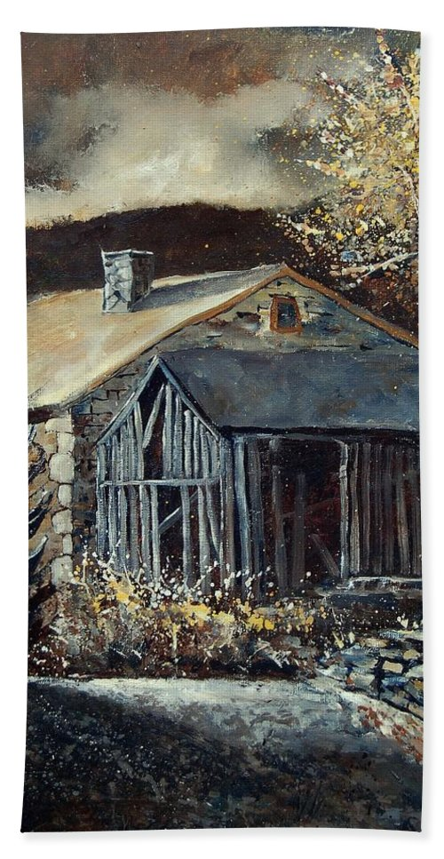 Village Bath Towel featuring the painting Old Barns by Pol Ledent