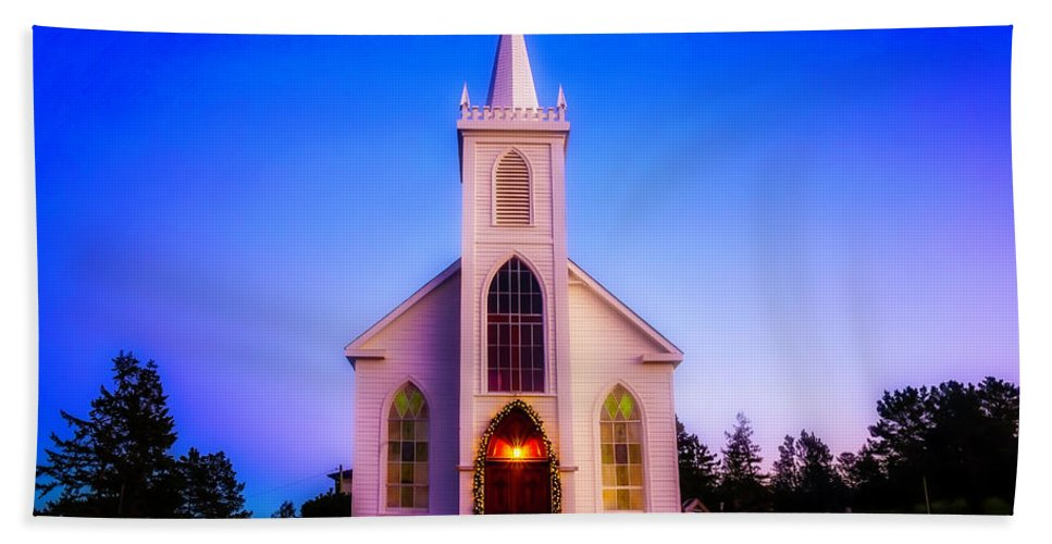 Church St. Teresa�s Of Avila Bath Sheet featuring the photograph Old Bodega Church Sunset by Garry Gay