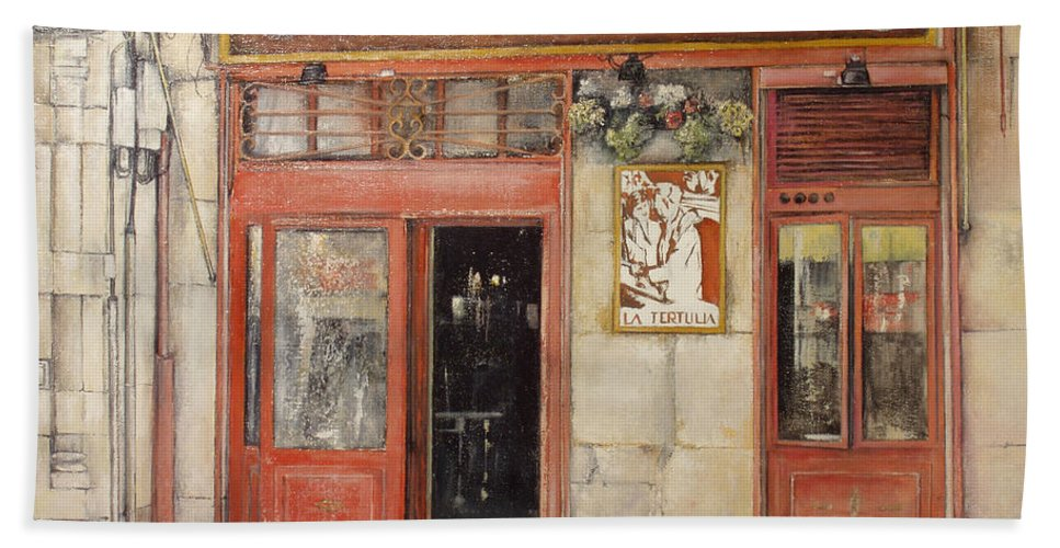 Cafe Bath Towel featuring the painting Old Cafe- Santander Spain by Tomas Castano