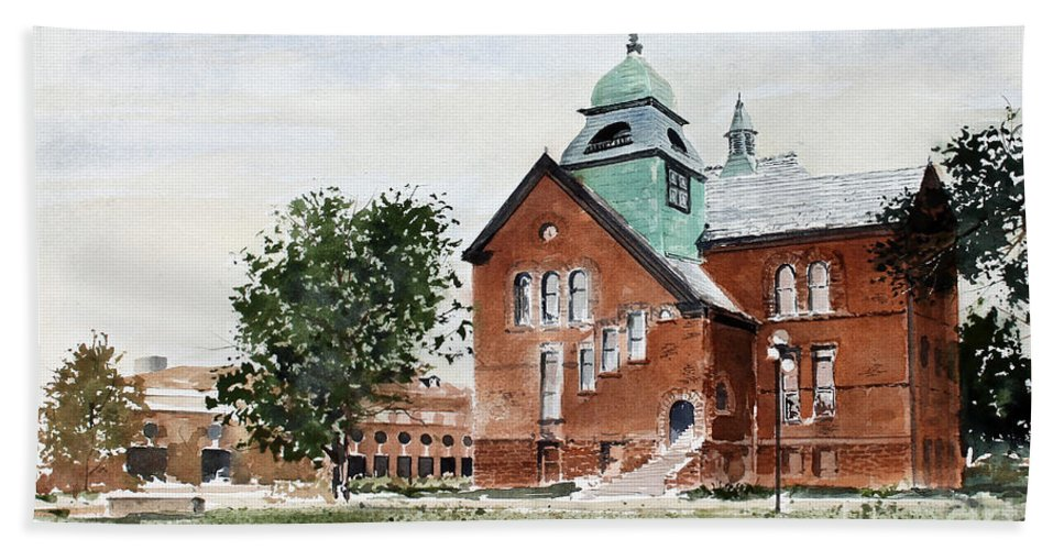 Old Central On The Oklahoma State University Campus. Hand Towel featuring the painting Oklahoma State University Old Central by Monte Toon