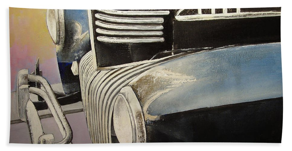 Old Bath Towel featuring the painting Old Chrysler by Tomas Castano