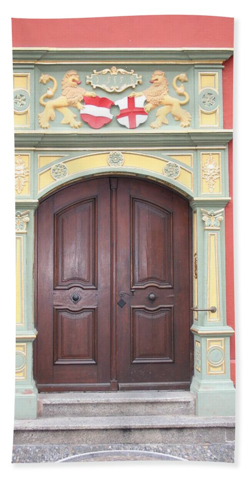 Door Bath Sheet featuring the photograph Old Door And Emblem by Christiane Schulze Art And Photography