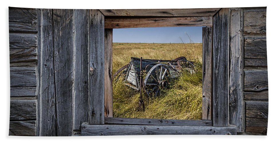 Art Bath Sheet featuring the photograph Old Farm Wagon Viewed Through A Barn Window by Randall Nyhof