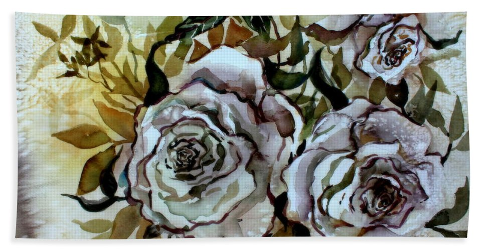 Rose Bath Towel featuring the painting Old Fashion White Roses by Mindy Newman