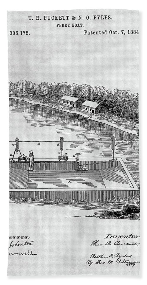 1884 Ferry Boat Patent Bath Sheet featuring the drawing Old Ferryboat Patent by Dan Sproul