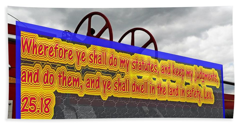 Cars Hand Towel featuring the photograph Old Fire Truck With Text 3 by Karl Rose