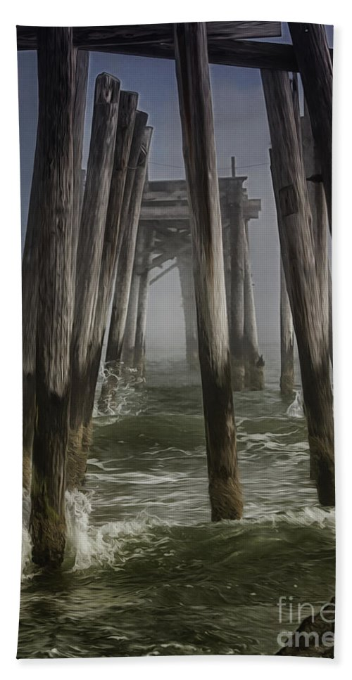 Waves Hand Towel featuring the photograph Old Fishing Pier Ocnj by Tom Gari Gallery-Three-Photography