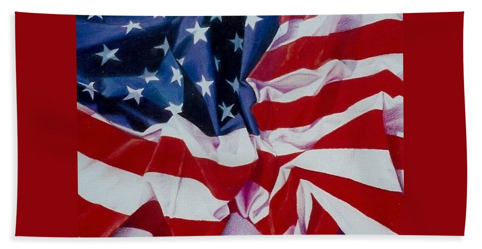 Red Hand Towel featuring the painting Old Glory 1 by Constance Drescher