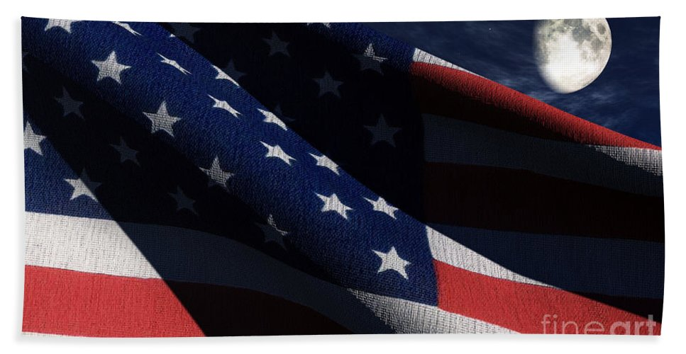 Us Flags Bath Towel featuring the digital art Old Glory 2 by Richard Rizzo