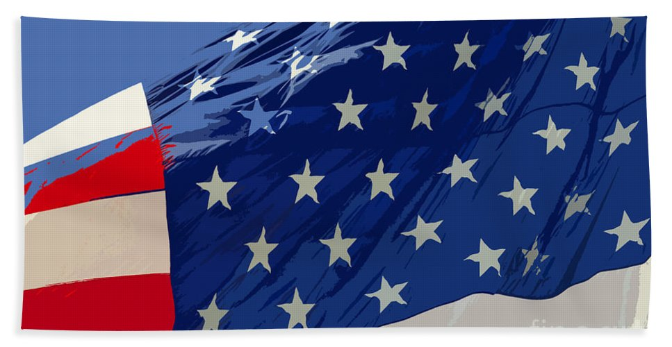 Old Glory Hand Towel featuring the painting Old Glory by David Lee Thompson