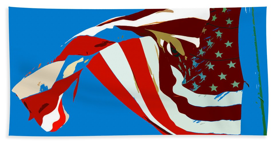 Old Glory Hand Towel featuring the painting Old Glory Flying by David Lee Thompson