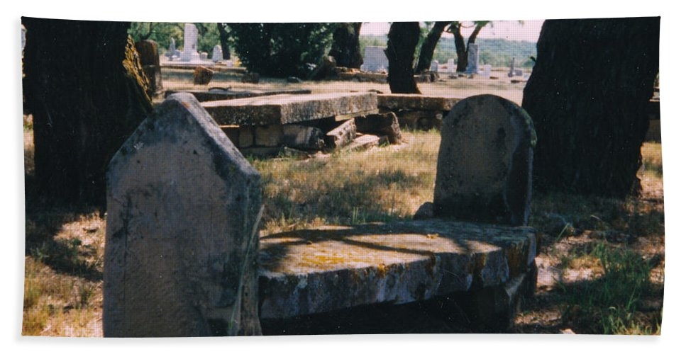 Grave Old Cementery Rocks Hand Towel featuring the photograph Old Grave by Cindy New