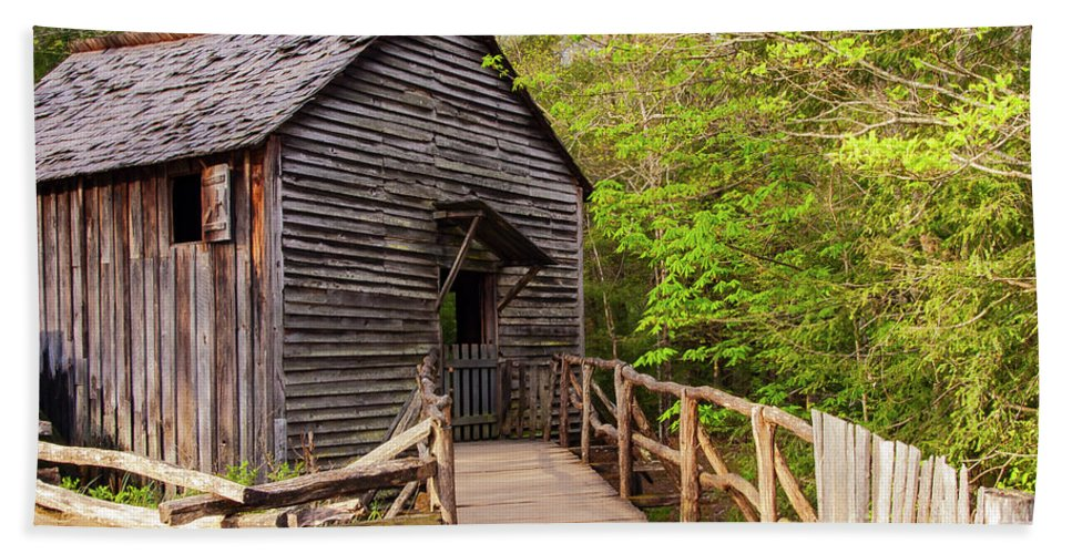 Cades Cove Bath Sheet featuring the photograph Old Grist Mill by Bob Phillips