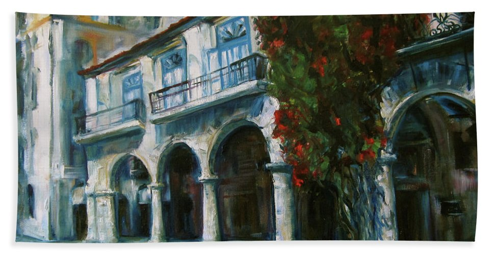 Old Havana Hand Towel featuring the painting Old Havana by Jennifer Christenson
