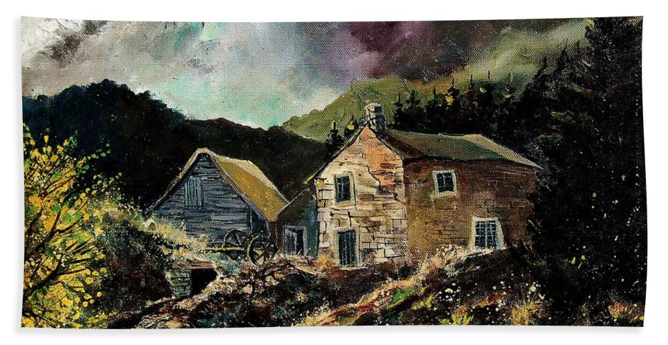 Tree Bath Towel featuring the painting Old Houses 5648 by Pol Ledent
