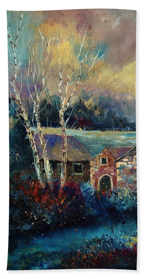 Village Hand Towel featuring the painting Old Houses In Hour by Pol Ledent